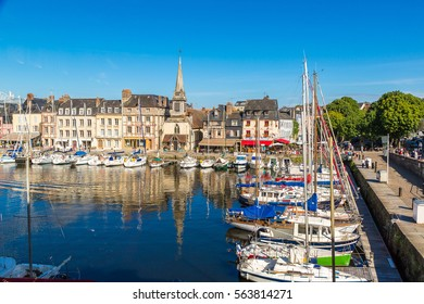 Honfleur Harbour in a beautiful summer day, France