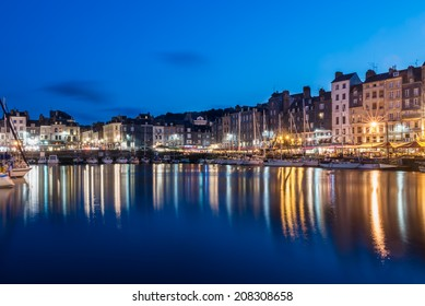 Honfleur Old Harbor by night, Normandy, France