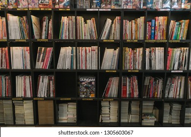 Hong Kon -July,4,2014:books and magazine in a bookcase