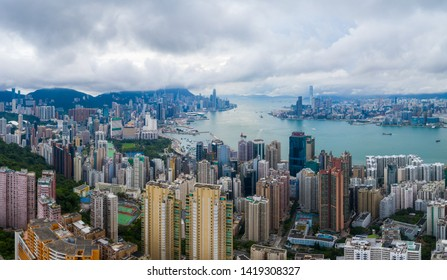 Hong Kong 01 June 2019: Top view of Hong Kong city
