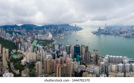 Hong Kong 01 June 2019: Aerial view of Hong Kong city