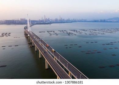 Hong Kong- 05 November 2018: Drone fly over Shenzhen Bay Bridge