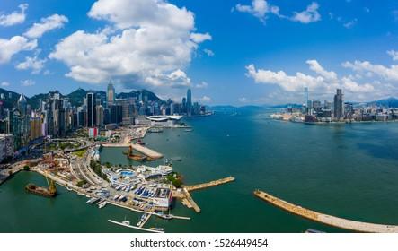 Hong Kong, 06 September 2019: Top view of Hong Kong city
