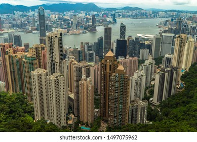 Hong Kong 07/06/2019 Mount Victoria Peak, view of the sea, city and high buildings