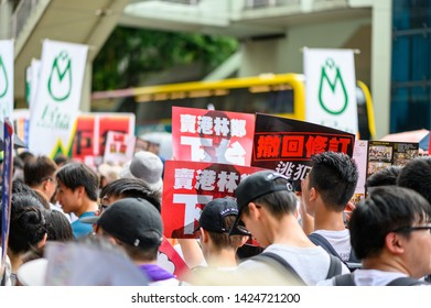 Hong Kong - 09 JUN 2019: 1.03 million citizen are protesting against China extradition law. Chinese translation: Carrie Lam, Hong Kong traitor, step down. Withdraw China extradition law.
