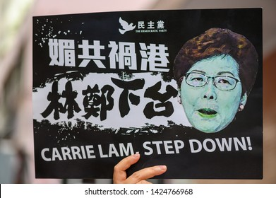 Hong Kong - 09 JUN 2019: 1.03 million citizens are protesting against China extradition law. Chinese translation: Carrie Lam (Chief Executive of Hong Kong), Step down.