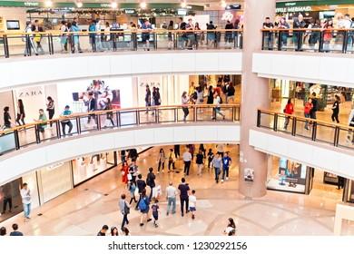 Hong Kong - 10 November, 2018 :  Tourists visit Harbour City shopping mall. Harbour City is Hong Kong's premier shopping destination.
