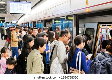 Hong Kong - 11 January, 2019 :  People Waiting At The MTR Station
