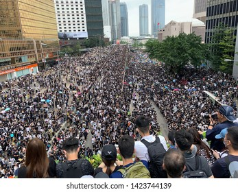 Hong Kong -12 June 2019: the crowd protest keep say no to extradition law and occupy the road. people oppose a controversial extradition bill which may include china,