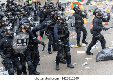 Hong Kong 12th June 2019: Anti Extradition Bill Protest.  Large team of riot police during clashes with protesters outside the Central Government Office in Hong Kong.