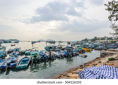 HONG KONG - 16 OCT: Street view of Cheung Chau Island and it's local Chinese market on 16 Oct 2016.
