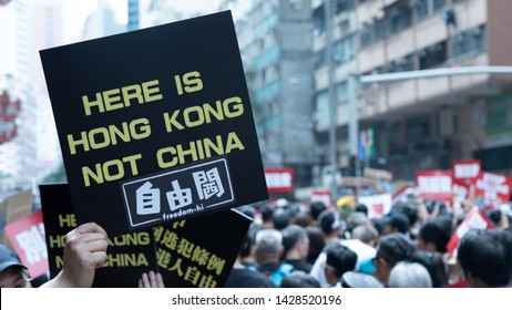 Hong Kong - 16Jun2019: 2 million Hongkongers join protest demonstration on streets against proposed controversial extradition law that will allow transfer of fugitives from HK to China.