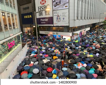 Hong Kong -18 August 2019: million of protesters go to causeway bay to the rally which held by Civil Human Rights Front . hk people oppose a controversial extradition bill which may include china.