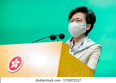 Hong Kong - 19 May 2020: Carrie Lam, Hong Kong's chief executive, speaks while wearing a protective mask during a news conference in Hong Kong, China, on Tuesday, May 19, 2020.