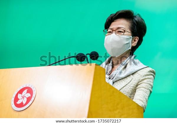 Hong Kong - 19 May 2020: Carrie Lam, Hong Kong's chief executive, speaks while wearing a protective mask during a news conference in Hong Kong, China, on Tuesday, May 19, 2020.