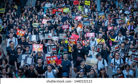 Hong Kong - 1Jul2019: 550,000 black-clad Hongkongers march from Victoria Park to Admiralty in the 22nd handover anniversary, saying frustration with government who did not respond to demands for weeks