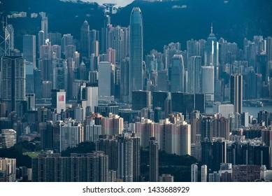 Hong Kong 21 June 2019 : Amazing view on Hong Kong city