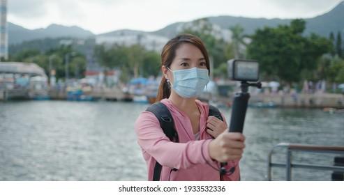 Hong Kong 22 September 2020: Woman take a video on Gopro camera