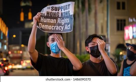 "Hong Kong - 23Aug2019: Hongkongers form 60km of human chains to encircle city in ""Hong Kong Way"", embracing ""Baltic Way"", pushing for 5 core demands re rights and freedom. US supports HK Human Rights"