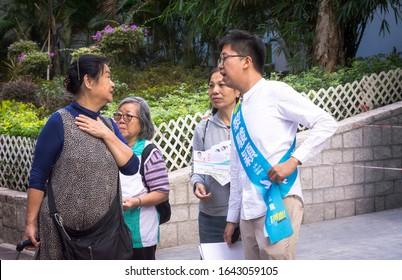 Hong Kong, 24 November 2019:Hong Kong politician lee jun-ying canvass for herself on the streets