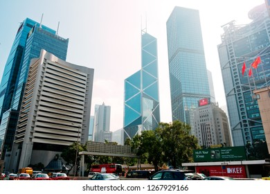 Hong Kong - 26 December, 2018 : Modern building Landscape in Hong Kong. Central is the central business district of Hong Kong.