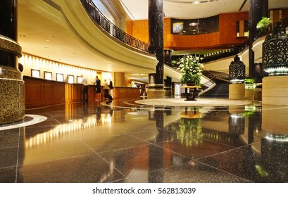 HONG KONG -27 JULY 2016- Opened in 1989, the flagship Grand Hyatt Hong Kong is a luxury hotel located in the Wan Chai area next to the Convention Center and the Wan Chai ferry pier.