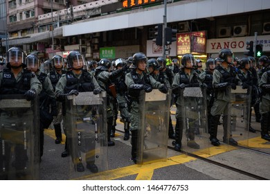 Hong Kong- 28 July 2019: Hong Kong public protest anti-extradition law in Hong Kong Island, which turn into Police conflict at night.