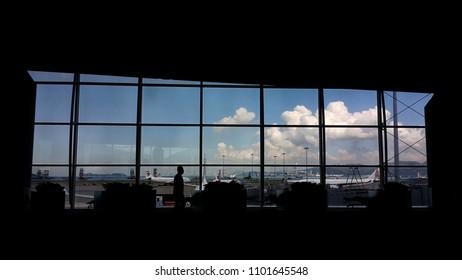 Hong Kong - 29 November 2017 : Hong Kong terminal silhouette