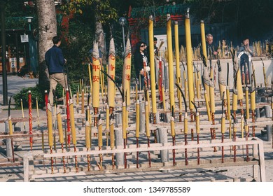 Hong Kong - 29th November 2016 - Incense area in Ngong Ping 360, Lantau Island for visitors to pray. From here can watch the Tian Tan Buddha - The worlds's tallest bronze Buddha.