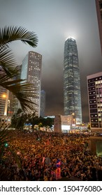 Hong Kong - 2Aug2019: Thousands of HK civil servants protest against extradition bill, call for meet protesters' 5 demands. Over 40,000 people attended the rally. They light up mobile and umbrellas.