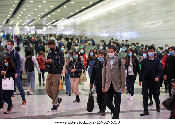 Hong Kong, 3 March 2020: peope wearing mask in metro station in central