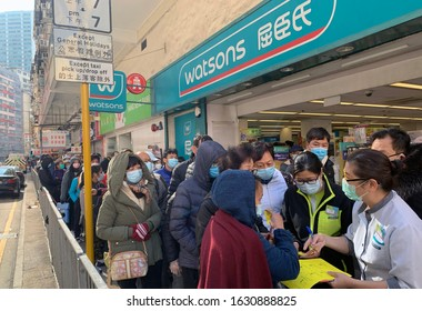 Hong Kong - 30 January 2020: people wait for the mask after Watsons announce they have small amount of masks for sell. after wuhan coronavirus outbreak in china, mask supply are shortage in hong kong