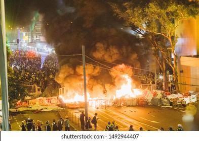 Hong Kong, 31 Aug 2019 - Hong Kong protesters as black bloc that built barricades and set up a fire.