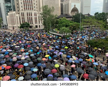 Hong Kong -31 August 2019: many protesters  go to protest in central/admiralty . hong kong people oppose a controversial extradition bill which may include china for two months