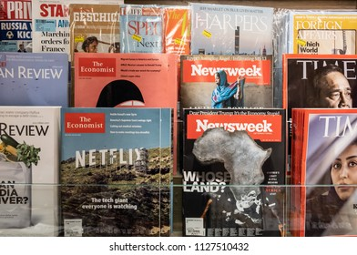 HONG KONG - 4 July, 2018: Magazines on display in a store in Hong Kong.