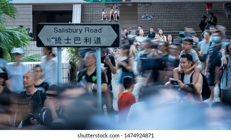 Hong Kong - 7Jul2019: 230,000 Hongkongers march on streets of Tsim Sha Tsui in Kowloon, gathered at Salisbury Garden, against Hong Kong's extradition bill. Salisbury Road full of protesters.