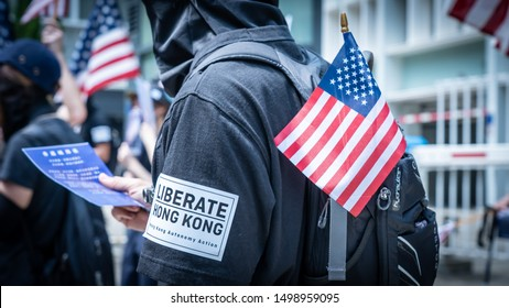 Hong Kong - 8Sep2019: Peaceful march to American consulate calling for help from US President Donald Trump, by passing Hong Kong Human Rights and Democracy Act