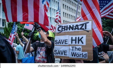 Hong Kong - 8Sep2019: Peaceful march to American consulate calling for help from US President Donald Trump, by passing Hong Kong Human Rights and Democracy Act. Banner: Save HK, Save the World!