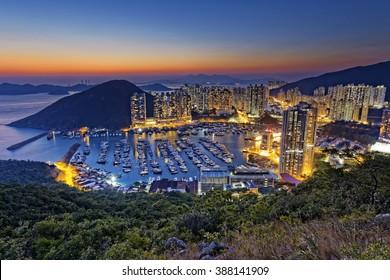 hong kong aberdeen area sunset