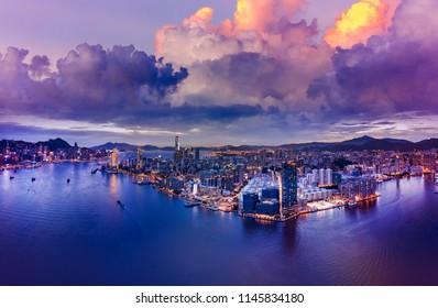 Hong Kong Aerial View Cityscape