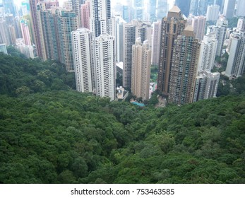 Hong Kong Aerial View Where Green Meets the Industrial City