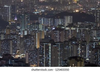 Hong Kong apartments at night