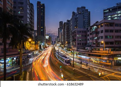 HONG KONG - APR 10 : Busy traffic in downtown Yuen Long in Hong Kong, China on 10 April 2017. It is one of the district in Hong Kong with light rail as their transportation.