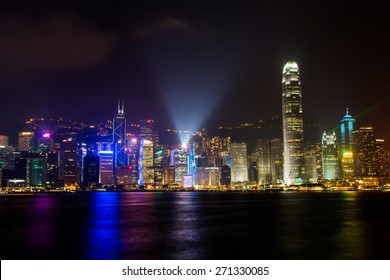 HONG KONG - APR 14, 2014: Hong Kong skyline view from Victoria Peak to the bay and the illuminated skyscraper by night.