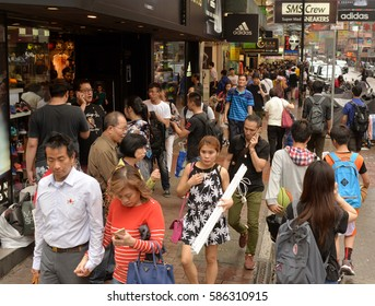 HONG KONG - APR 23, 2016: A people at the busy street in Hong Kong.