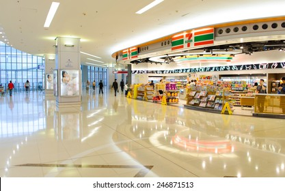 HONG KONG - APRIL 01: 7-11 shop in airport on April 01, 2014. 7-Eleven or 7-11 is an international chain of convenience stores and primarily operates using the franchise model.