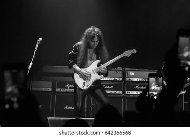 HONG KONG - April 12, 2017: American rock/heavy metal supergroup Generation Axe, Guitarist Yngwie Malmsteen performed on stage