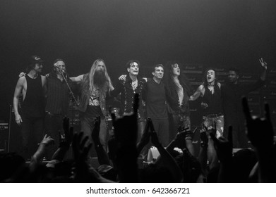 HONG KONG - April 12, 2017: American rock/heavy metal supergroup Generation Axe, Guitarist Steve Vai, Zakk Wylde, Tosin Abasi, Nuno Bettencourt and Yngwie Malmsteen performed on stage