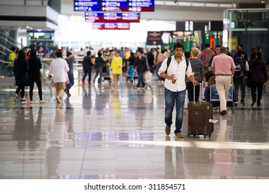 HONG KONG - APRIL 15, 2015: Hong Kong International Airport interior. The one of the best airport in the annual passenger survey by Skytrax.
