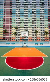 Hong Kong - April 15 2019: Choi Hung Estate Car Park, narrow apartments in the public housing estate in Hong Kong, with a basketball court. Most popular place for tourists. Empty area, no people